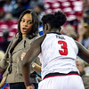 Georgia head coach Joni Taylor and forward Stephanie Paul (3) during the Lady Bulldogs' game against Kentucky at Stegemen Coliseum in Athens, Ga., on Thursday, February 9, 2017. (Photo by John Paul Van Wert)