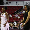 Georgia's Shanea Armbrister (1) and head coach Joni Taylor during the Bulldogs' game against Alabama at Stegeman Coliseum in Athens, Ga., on Thursday, February 23, 2017. (Photo by Cory A. Cole)