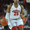 Georgia guard/forward Shacobia Barbee (20) looks to pass the ball during the Lady Bulldogs' game with the Georgia Tech Yellow Jackets at Stegeman Coliseum in Athens, Ga., on Sunday, November 22, 2015. (Photo by Sean Taylor)