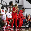 Georgia players cheer on their teammate after a three pointer by Georgia's Mackenzie Engram (33) during the Bulldogs' game against Alabama at Stegeman Coliseum in Athens, Ga., on Thursday, February 23, 2017. (Photo by Cory A. Cole)