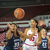 Georgia forward Mackenzie Engram (33) and Brigham Young forward Jasmine Moody (33) during the Lady Bulldogs' game with BYU at Stegeman Coliseum in Athens, Ga., on Wednesday, Nov. 16, 2016. (Photo by John Paul Van Wert)