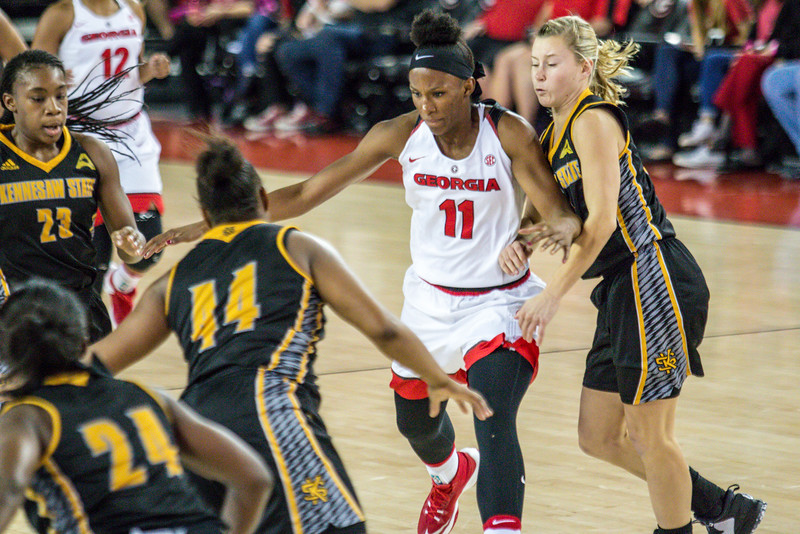 Georgia guard/forward Pachis Roberts (11) during the Lady Bulldogs' game with Kennesaw State at Stegeman Coliseum in Athens, Ga., on Tuesday, Nov. 29, 2016. (Photo by John Paul Van Wert / Georgia Sports Communications)