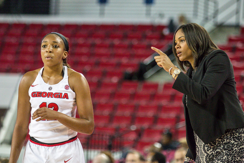Georgia head coach Joni Taylor and Georgia guard Haley Clark (12) during the Lady Bulldogs' game with Kennesaw State at Stegeman Coliseum in Athens, Ga., on Tuesday, Nov. 29, 2016. (Photo by John Paul Van Wert / Georgia Sports Communications)