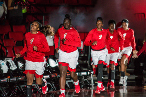 Members of the Georgia women's basketball team during the Lady Bulldogs' game with Kennesaw State at Stegeman Coliseum in Athens, Ga., on Tuesday, Nov. 29, 2016. (Photo by John Paul Van Wert)