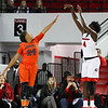 Mercer guard Kahlia Lawrence (24) and Georgia forward Caliya Robinson (4) during the Lady Bulldogs' game with Mercer at Stegeman Coliseum in Athens, Ga., on Sunday, Nov. 13, 2016. (Photo by Cory A. Cole)