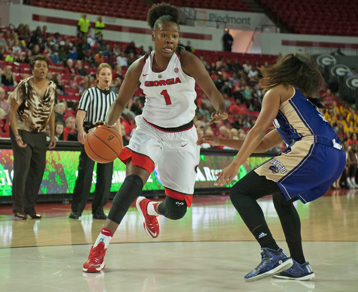 Georgia guard Shanea Armbrister (1) during first half action of the Lady Bulldogs' game against the Western Carolina Lady Catamounts at Stegeman Coliseum on Wednesday, Dec. 28, 2016 in Athens, Georgia. (Photo by John Kelley/Georgia Sports Communications)