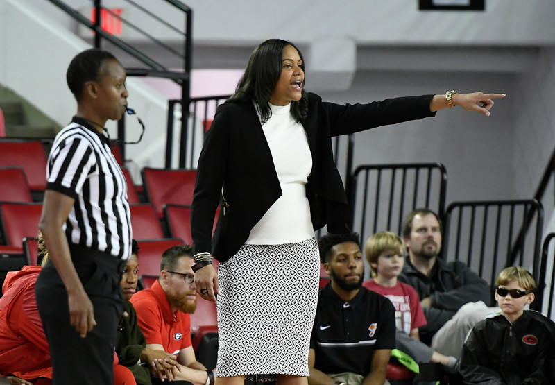 Georgia Head Coach Joni Taylor during first half action of the Lady Bulldogs' game against the Western Carolina Lady Catamounts at Stegeman Coliseum on Wednesday, Dec. 28, 2016 in Athens, Georgia. (Photo by John Kelley/Georgia Sports Communications)