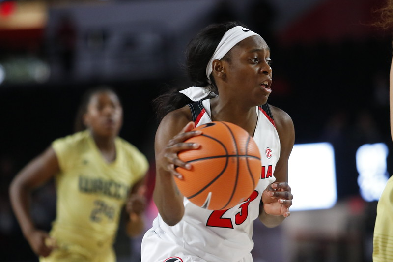 Georgia guard Que Morrison (23) during the Lady Bulldogs' match against Georgia Tech at Stegeman Coliseum in Athens, Ga., on Sunday, Dec. 17, 2017.  (Photo by Steffenie Burns/Georgia Sports Communication)