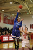 Riverhead's Quinn Funn #3 sinks a jump shot in the first half against  East Islip in the Suffolk County League III Basketball Game at East Islip High School in Islip Terrace NY  Riverhead won the game 71-57. (Jan.  24, 2013) <br /> Photo by Daniel De Mato