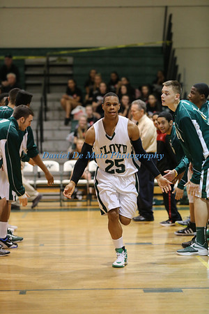 Mastic Beach NY: William Floyd's Devonte Dixon #25 is introduced at the start of the Suffolk County High School Boys Basketball Class AA Playoff game against Bay Shore at William Floyd HS. William Floyd defeated Bay Shore by a score of 53-52. (Feb. 15, 2013)<br /> Photo by Daniel De Mato