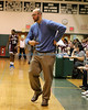 Mastic Beach NY: William Floyd Boys Varsity Basketball Head Coach Rob Hodgson directs his team against Bay Shore HS in the first round of the Suffolk County High School Boys Basketball Class AA Playoffs. William Floyd defeated Bay Shore by a score of 53-52. (Feb. 15, 2013)<br /> Photo by Daniel De Mato