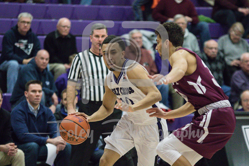Tuesday, January 31, 2017; Worcester, MA;  during the Crusaders 59-50 victory over the Patriots in Patriot League play.