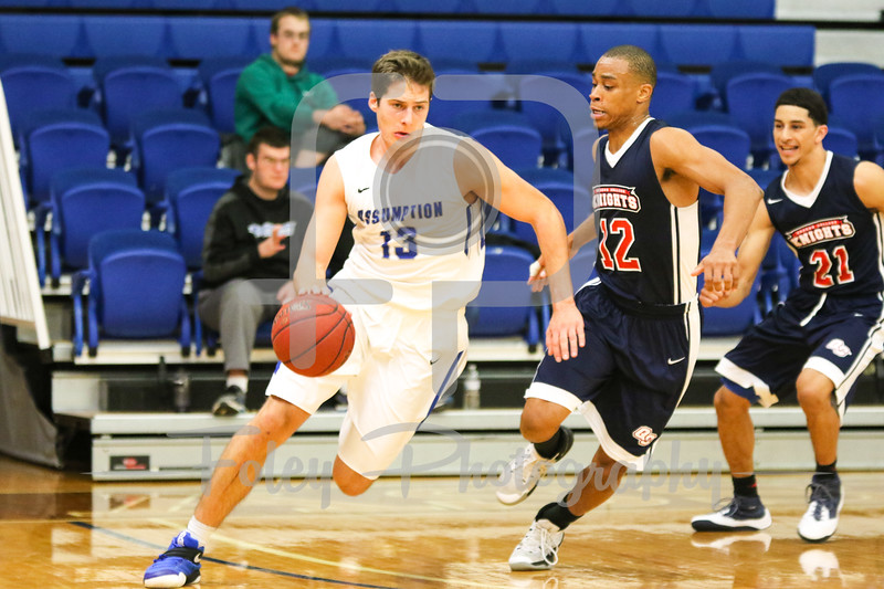 Assumption College guard Branislav Vujadinovic (13)