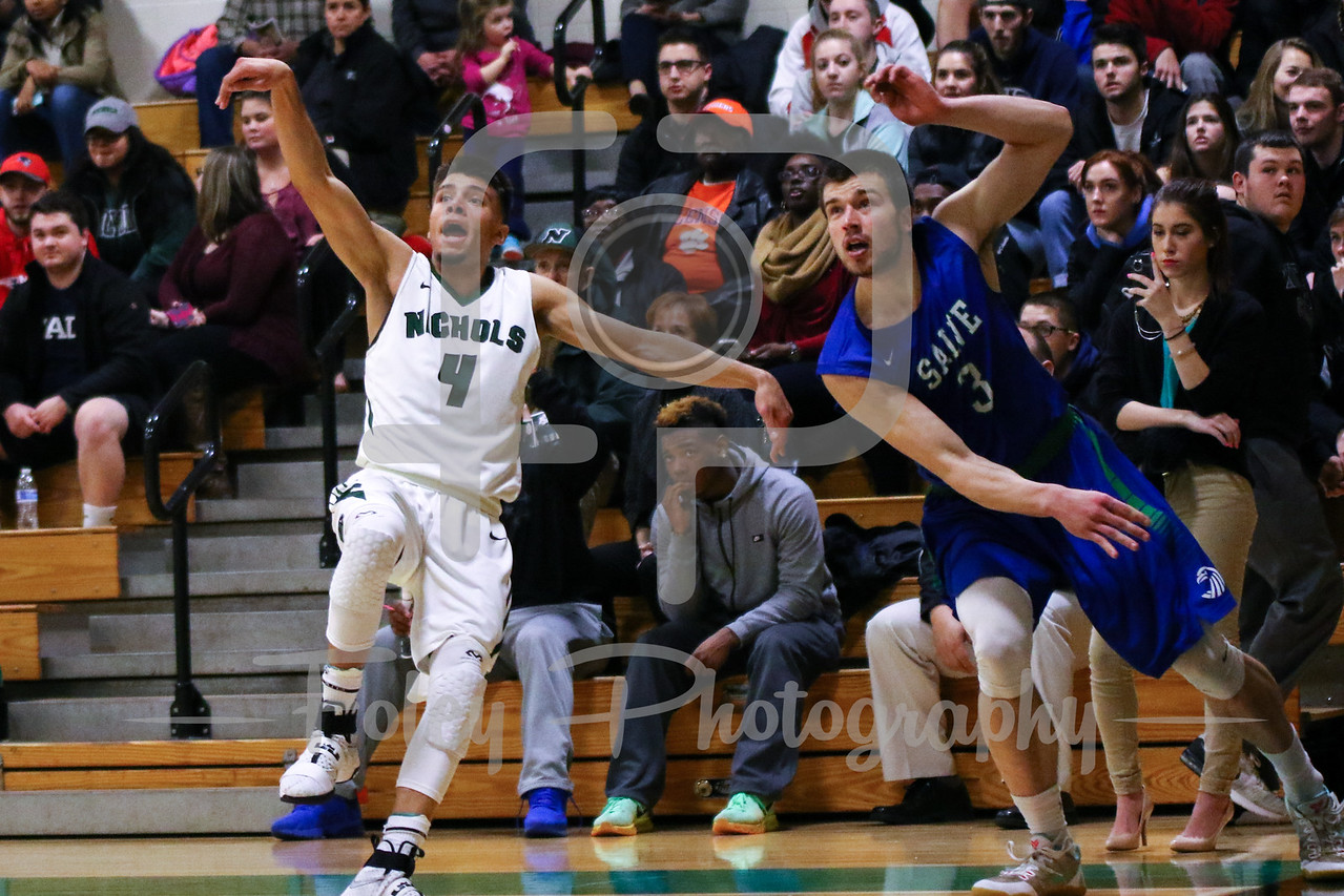 Nichols College guard Marcos Echevarria (4) Salve Regina Connor Costello (3)