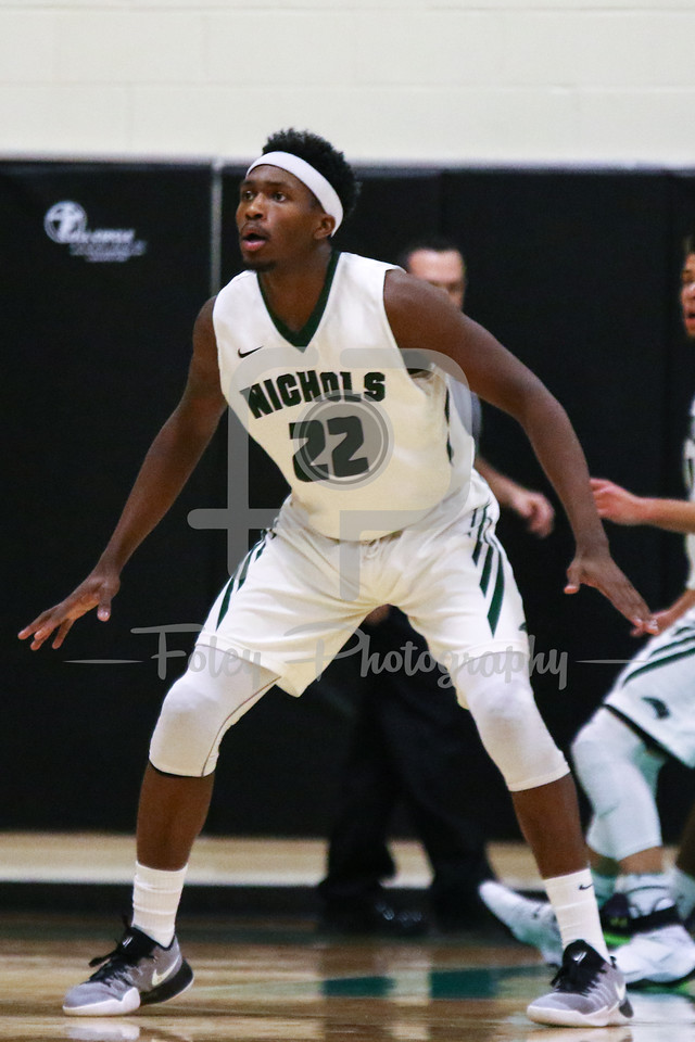 Nichols College forward Devin Stallings (22)