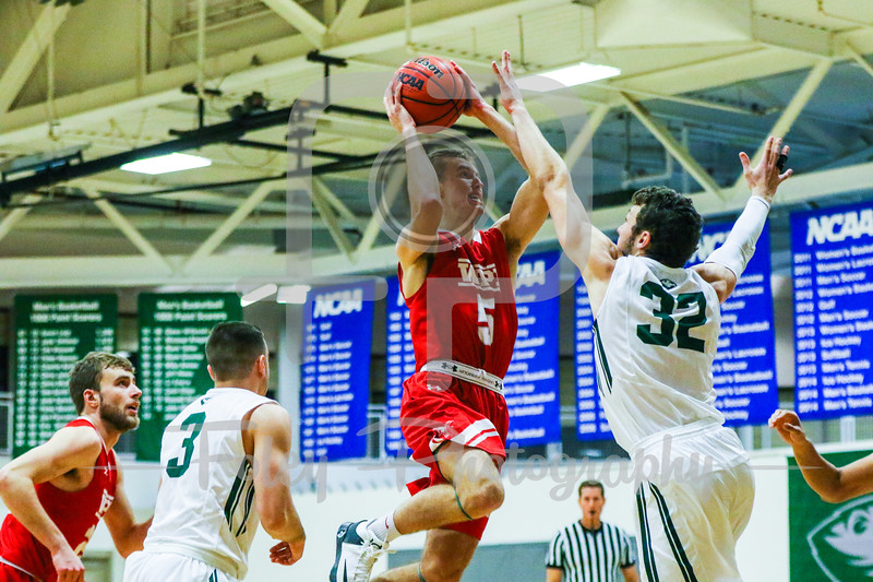 WPI Engineers guard Chris Rodgers (5) Babson College Beavers guard Joey Flannery (32)