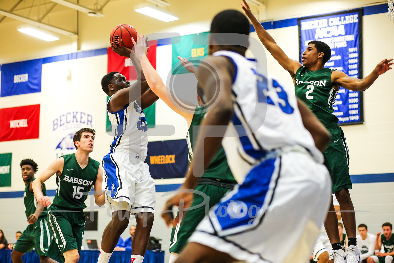 Becker College Hawks forward Samuel Durodola (20)