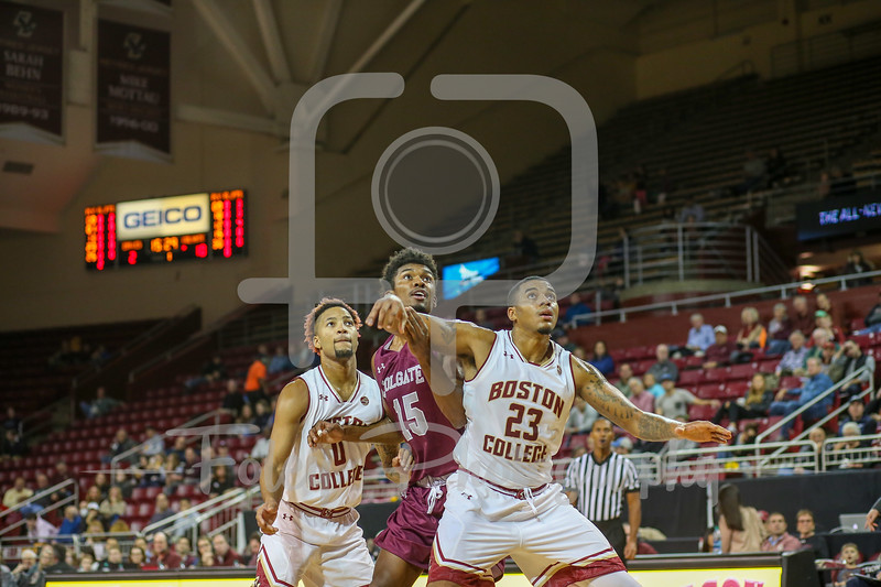 Colgate Raiders forward Jordan Swopshire (15) Boston College Eagles forward Deontae Hawkins (23)