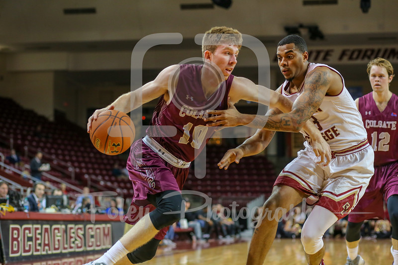 Colgate Raiders forward Will Rayman (10) Boston College Eagles forward Deontae Hawkins (23)