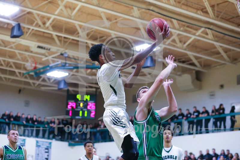 Nov. 29, 2017, Nichols Athletic Center, Dudley, Massachusetts: during the Bison 105-82 victory of the Gulls in a Commonwealth Coast Conference matchup.