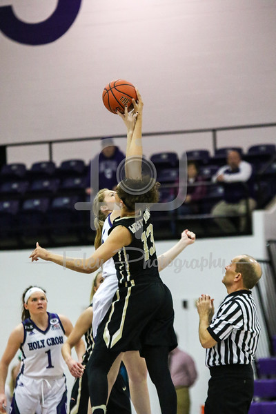 Holy Cross Crusaders forward Lauren Manis (25) Army Black Knights forward/center Lena' Hicks (13)