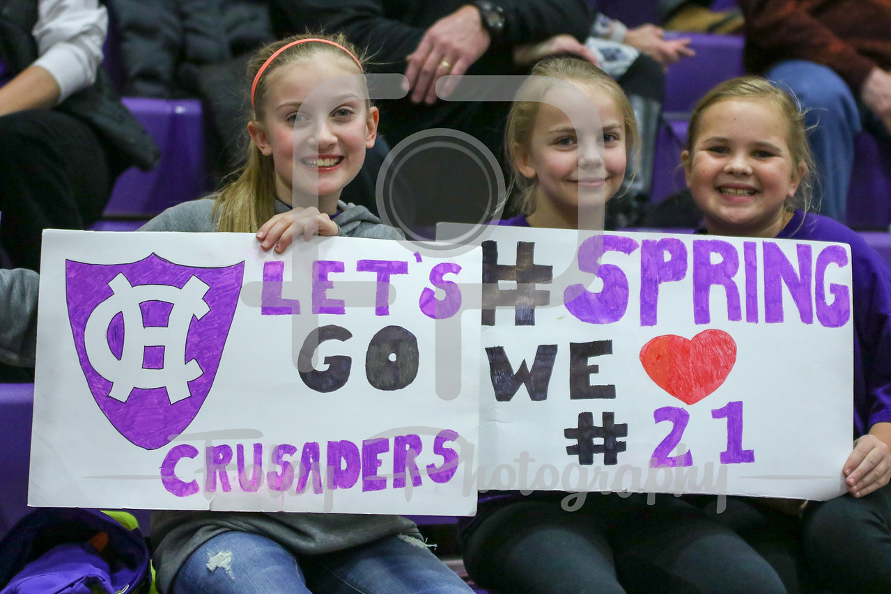 Wednesday, January 18, 2017; Worcester, MA; Some young girls enjoy the game during the Black Knights 69-57 victory over the Crusaders in a Patriot League matchup.