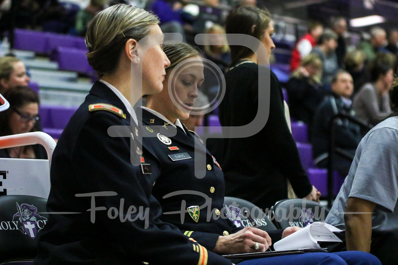 Wednesday, January 18, 2017; Worcester, MA; A couple of female cadets look on during the Black Knights 69-57 victory over the Crusaders in a Patriot League matchup.