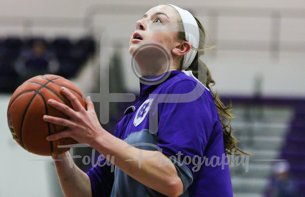 Sunday, November 6, 2016; Worcester, Massachusetts; Holy Cross Crusaders player warms up before the Crusaders 62-55 victory over the Assumption Greyhounds.