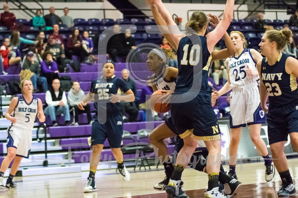 Saturday, January 28, 2017; Worcester, MA;  during the Navy Midshipmen's 73-71 victory over the Crusaders