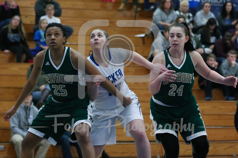 Newbury College Nighthawks Destiny Spears (25) Becker College Hawks guard Kelsey Maynard (15)