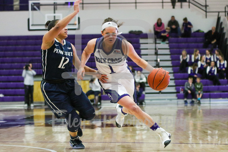 Holy Cross Crusaders guard Tricia Byrne (1) Penn State Lady Lions guard Lindsey Spann (12)