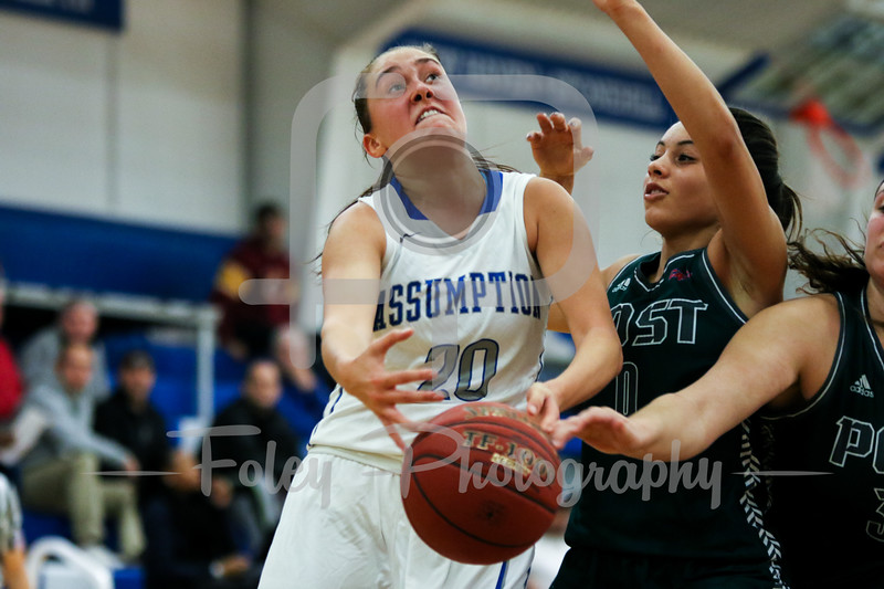 Assumption College guard Brittani LeBlanc (20)