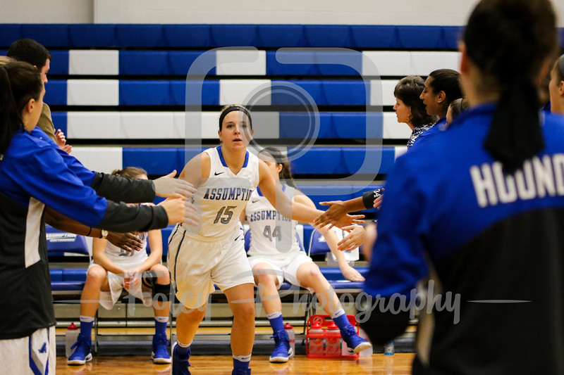Assumption College guard Morgan O'Brien (15)