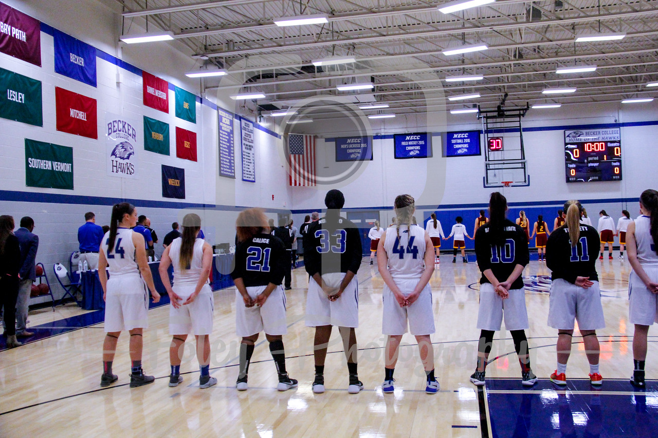 Thursday, January 12, 2017; Leicester, MA;  during the Hawks 64-60 victory over the Pride in NECC play.