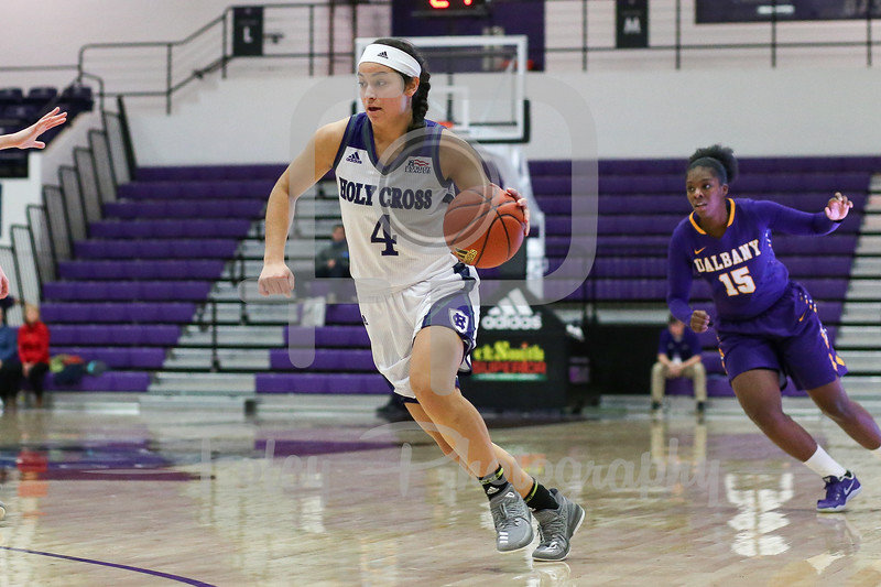 Jenay Faulkner (4) of the Holy Cross Crusaders