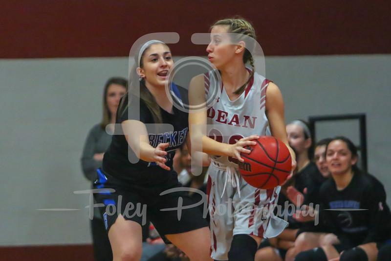 Becker College Hawks guard Kelsey Maynard (15) Dean College Bulldogs Sophia Church (22)