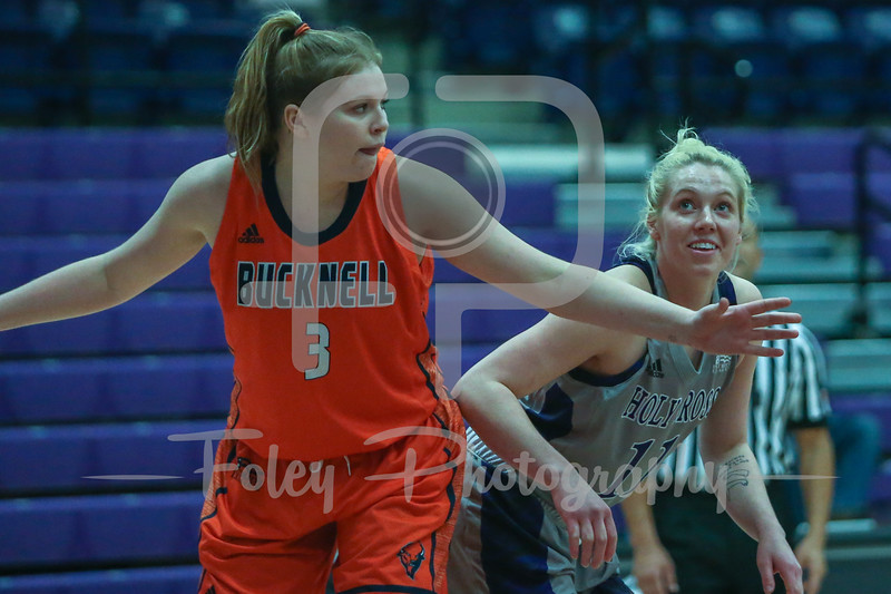 Holy Cross Crusaders guard Shannon Druck (11) Bucknell Bison forward Tessa Brugler (3)