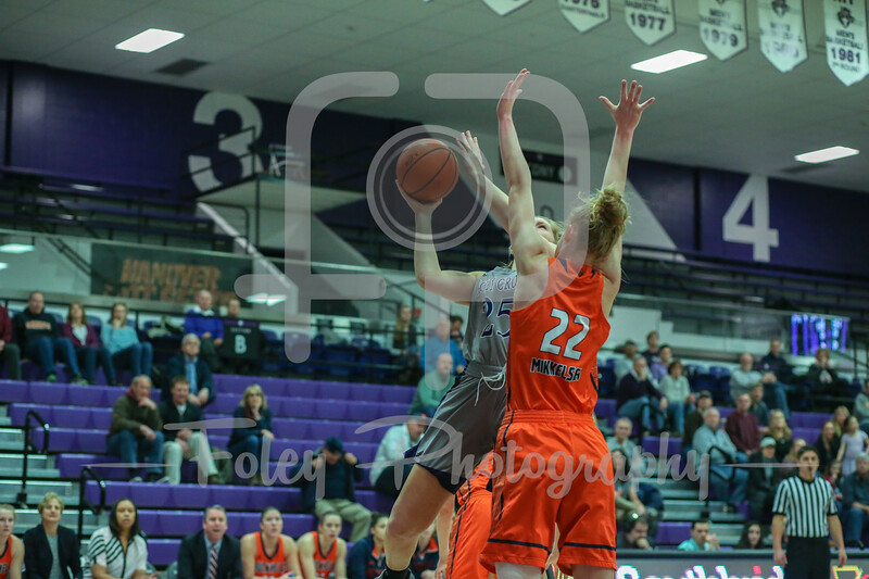 Holy Cross Crusaders forward Lauren Manis (25) Bucknell Bison forward Maegan Mikkelsen (22)