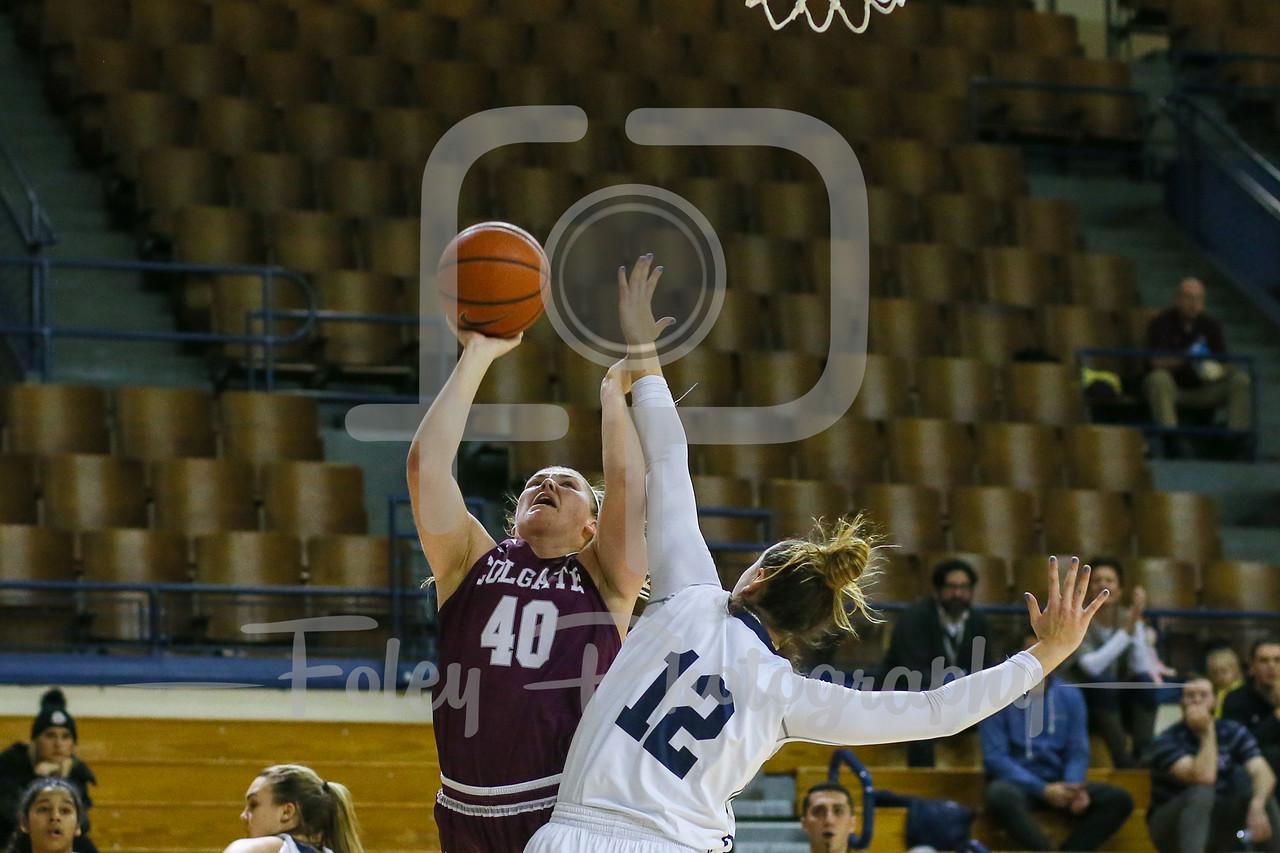 Colgate Raiders forward Summer King (40) Yale Bulldogs forward Jen Berkowitz (12)