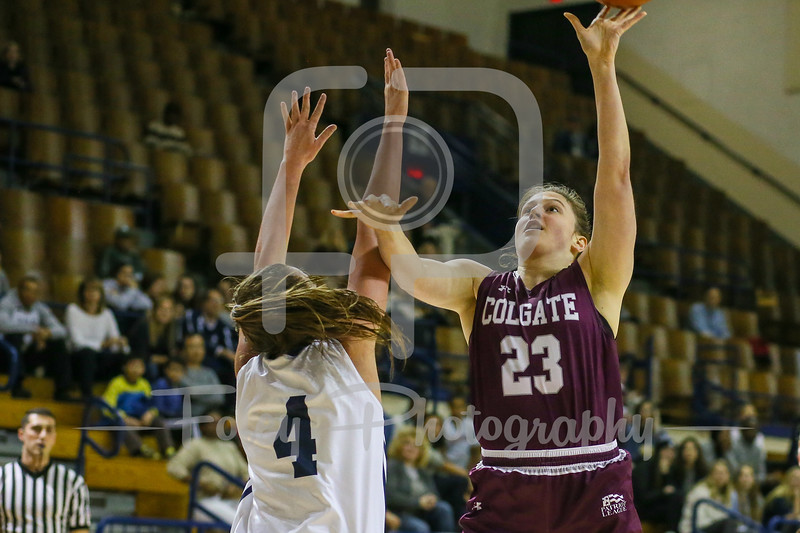 Colgate Raiders forward Tori Pozsonyi (23) Yale Bulldogs guard/forward Megan Gorman (4)