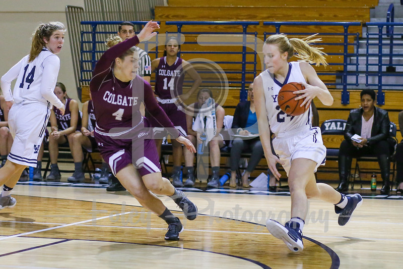Yale Bulldogs forward Ellen Andrews (24) Colgate Raiders guard Mackenzie Carroll (4)
