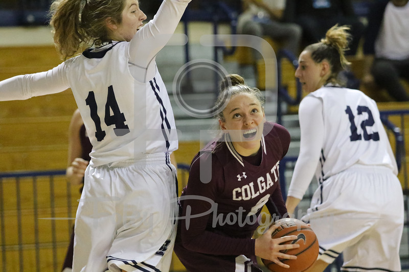 Colgate Raiders guard Tegan Graham (2) Yale Bulldogs guard Mary Ann Santucci (14) Yale Bulldogs forward Jen Berkowitz (12)