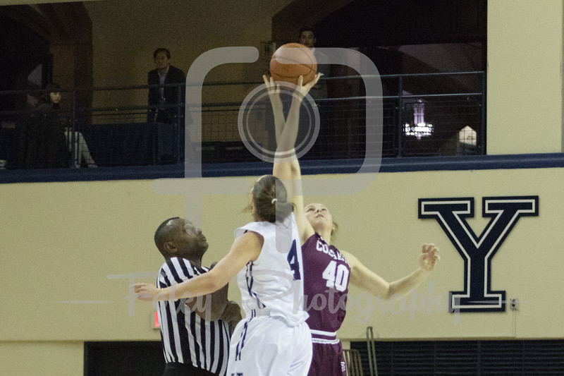 Colgate Raiders forward Summer King (40) Yale Bulldogs guard/forward Megan Gorman (4)