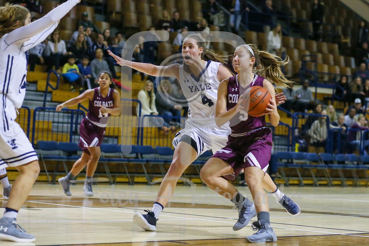 Colgate Raiders guard Chelsey Koren (5) Yale Bulldogs guard/forward Megan Gorman (4)