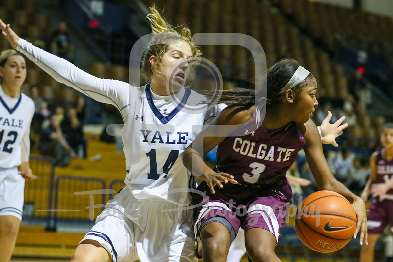 Colgate Raiders guard Nia Ahart (3) Yale Bulldogs guard Mary Ann Santucci (14)