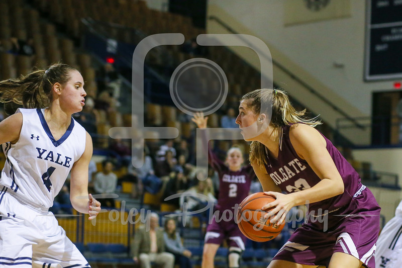 Colgate Raiders forward Abby Schubiger (22) Yale Bulldogs guard/forward Megan Gorman (4)