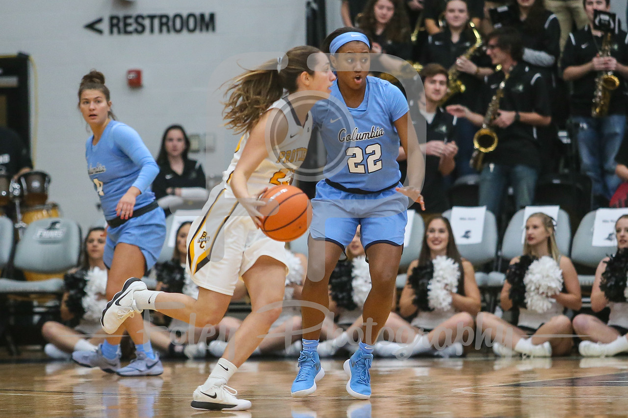 Columbia Lions guard Maya Sampleton (22) Providence Lady Friars guard Clara Che (23)