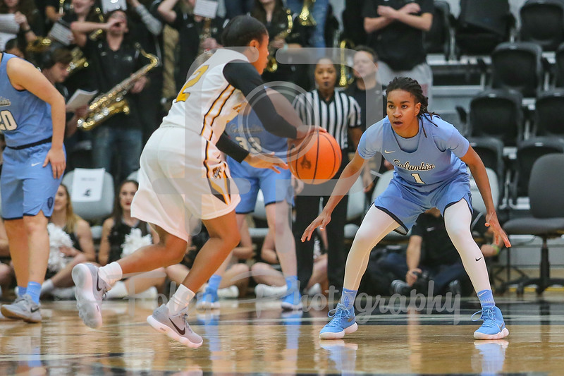Columbia Lions guard Janiya Clemmons (1) Providence Lady Friars guard Chanell Williams (2)