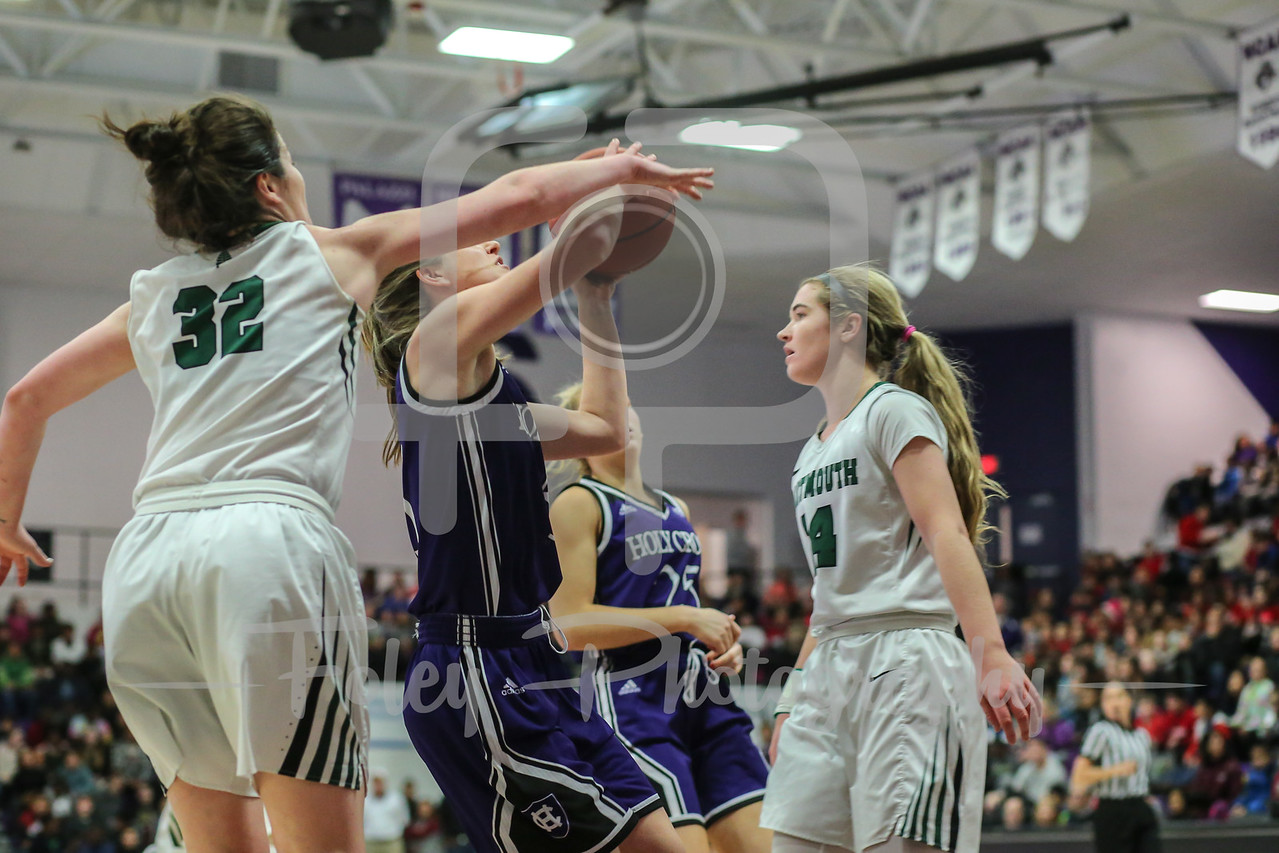 Holy Cross Crusaders guard Katie Doherty (5) Dartmouth Big Green guard Emily Slagle (32)