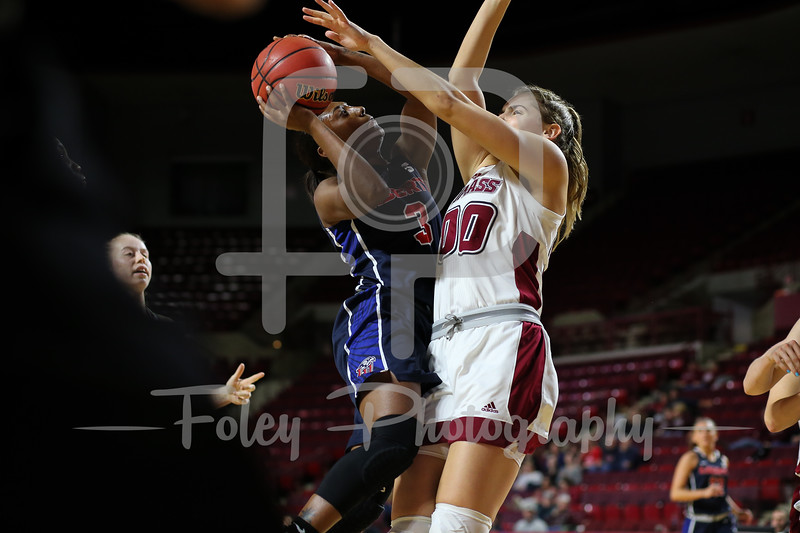 Nov. 25, 2017, Mullins Center, Amherst, Massachusetts: during the Minutewomen's 64-61 victory over the Flames in a non-conference matchup.